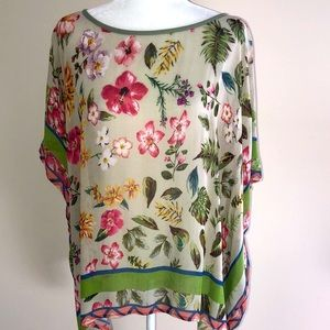 Blank London Floral Poncho Top one size